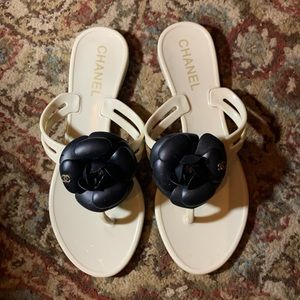Chanel White Jelly Black Camellia Sandals